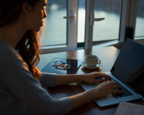 WEB-Frau tippt auf Ihrem Notebook